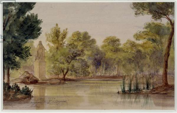 Lake of the countryside of Monsignor de Mazenod in Saint Louis in the Bouches of the Rhone Watercolour by Berthe Rozand (19th century) 1860 Mandatory mention: Collection fondation regards de Provence, Marseille