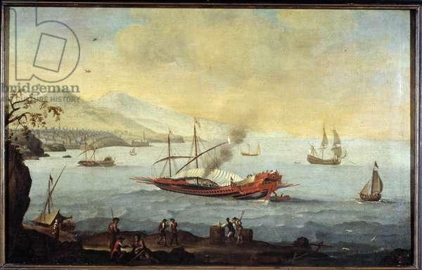 A galley in the harbor of Marseille. Pierre Puget School. 17th century Musee du Vieux Marseille, Marseille.