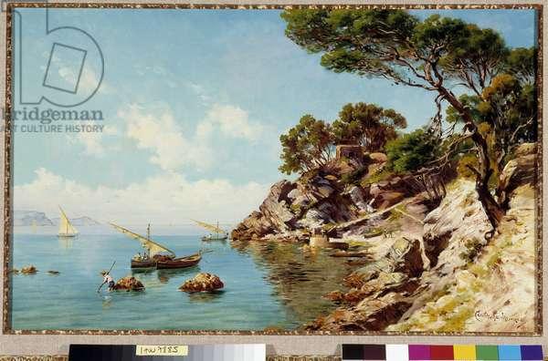 Les pecheurs de la Calanque Painting by Emmanuel Coulange-Lautrec (1824-1898) 19th century Mandatory mention: Collection foundation regards of Provence, Marseille