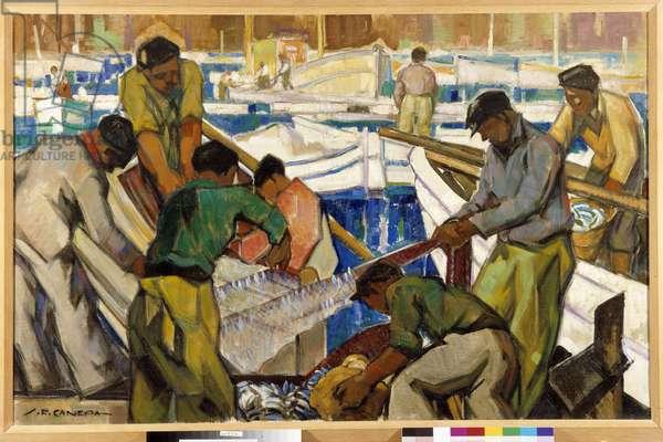 Return of fishing 20th century (oil on canvas)