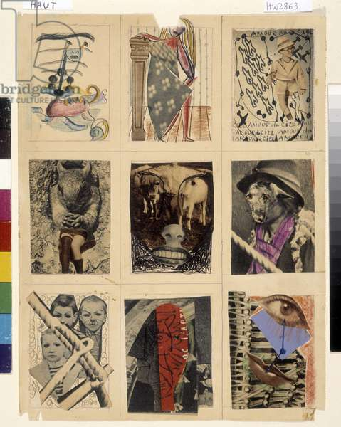 Surrealism: 9 Collages and Collective Drawings-N°4 Andre Breton (1896 - 1966) - N°8 Wifredo Lam (1902-1982), 1940 (Drawing and Collage)