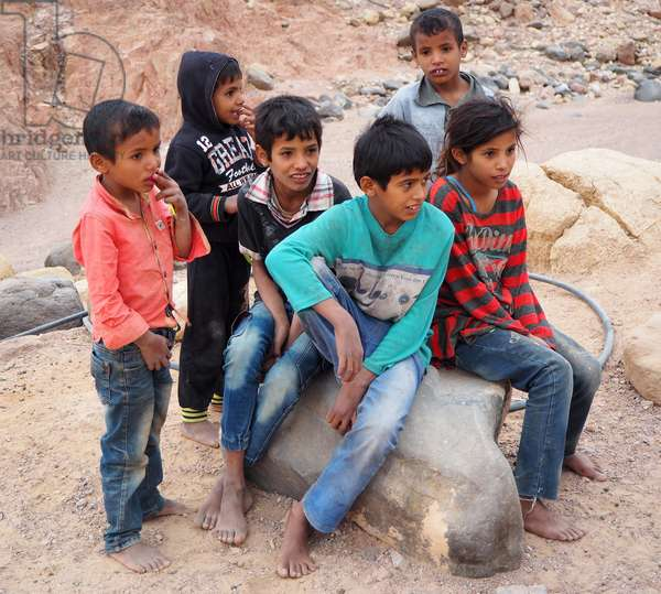 Jordan: Landscape in Wadi Ghuweir. Young Bedouins