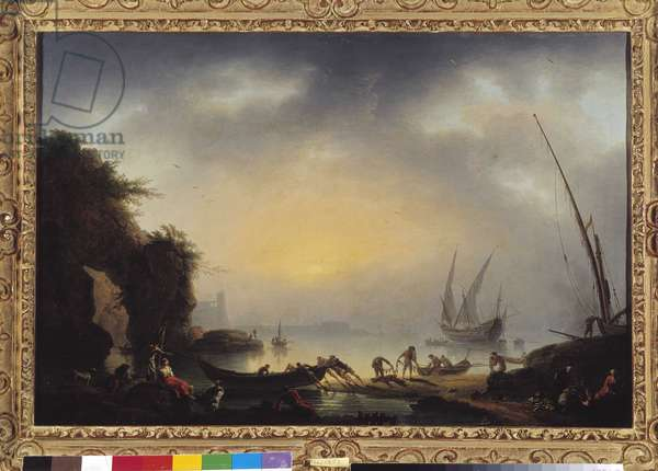 Back from fishing in the evening. Painting by Jean Henry dit Henry d'Arles (1734-1784) cm 55x80,5 Mandatory mention: Collection fondation regards de provence Marseille