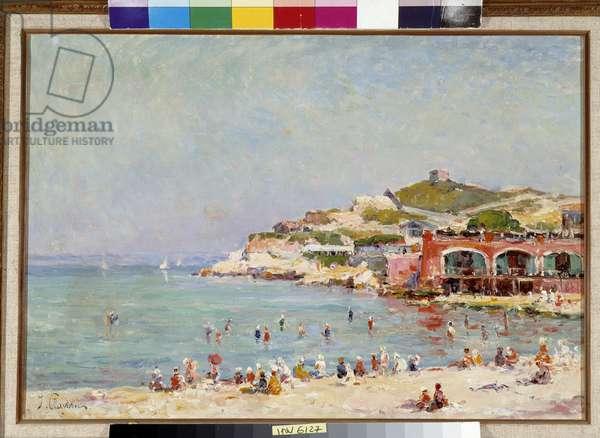 La plage des Catalans Painting by Justin Jules Claverie (1859-1932) 19th century Fondation regards de Provence, Marseille