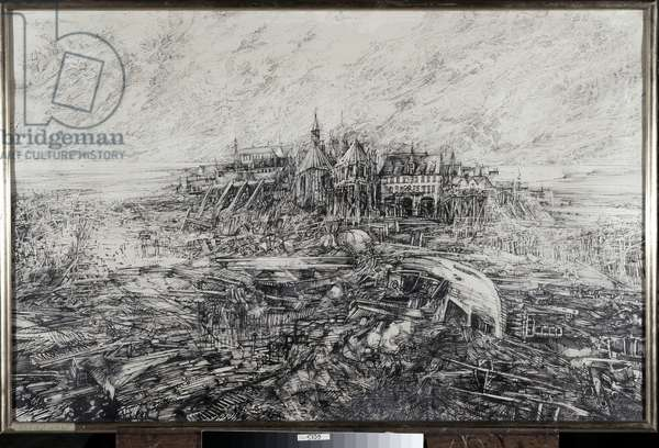 The city. Painting by Louis Pons (Chinese ink on paper)
