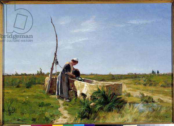 The Peasant and the Well Painting by Theophile Mayan (1860-1937) Dim. 46x56 cm. Mandatory mention: Collection fondation regards de Provence Marseille DR