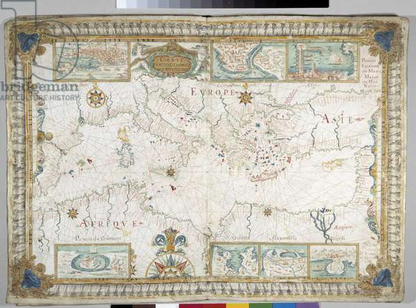 Portulan: maritime map representing the Mediterranean Sea surrounded by African, European and Asian continents. Top and bottom: maps of major cities (Marseille, Constantinople, Algiers, Peron de Goumere, Goletta, Alexandria and Tripoli). Watercolour by Augustin Roussin 1630 Municipal Library, Marseille