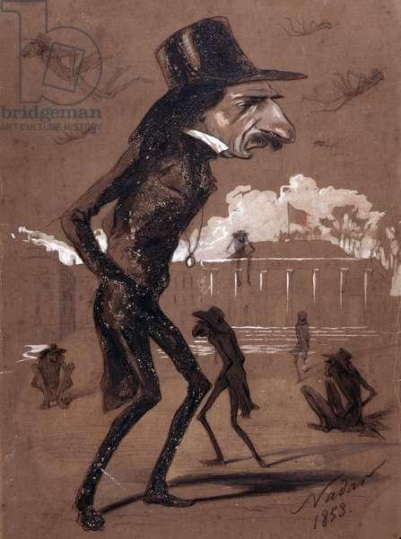 Hippolyte Lucas the man with big legs (Hippolyte Julien Joseph Lucas, 1807-1878, French writer). Cartoon by Gaspard Felix Tournachon dit Felix Nadar (1820-1910), 1853. Drawing a Gouache. Dim: 37,5x50cm.