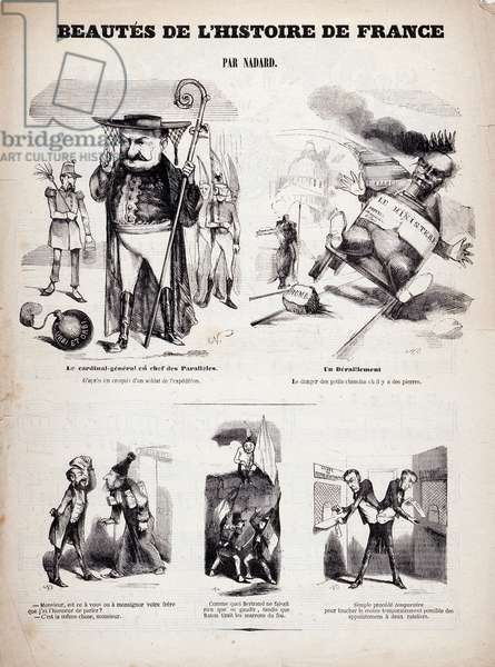 Beautes of the history of France. Cartoon by Gaspard Felix Tournachon dit Felix Nadar (1820-1910), 1845. Lithography based on a drawing on paper. Dim: 27x36cm.