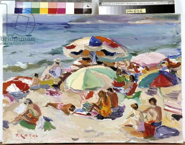 Sun umbrellas on the beach (oil on canvas)