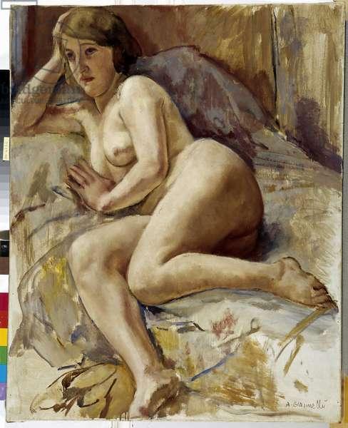 Nude on a sofa (oil on canvas)