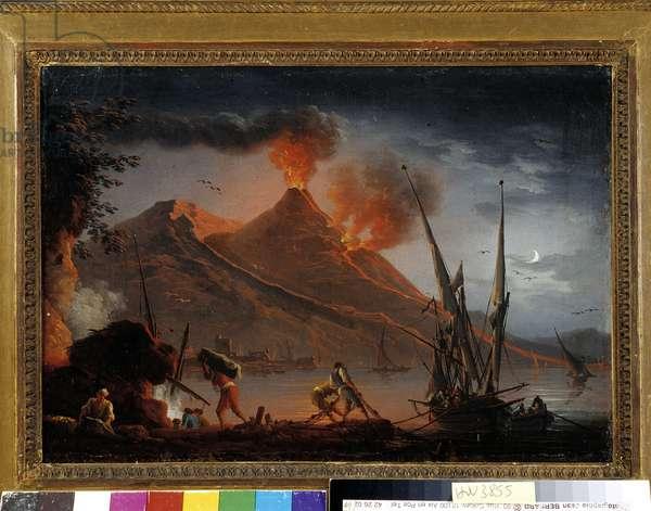 Vesuve eruption. Painting by Charles Francois Grenier de la Croix dit Lacroix de Marseille (? 1782), 1763. Collection, P. Dumon, Mandatory mention: Collection fondation regards de Provence, Marseille