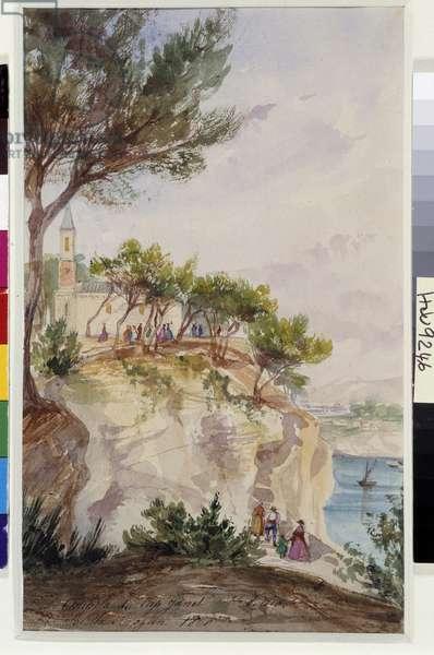Chapel of Cap Janet in Saint Louis in the Bouches du Rhone. Watercolour by Berthe Rozan (19th century) 1860 Mandatory mention: Collection fondation regards de Provence, Marseille