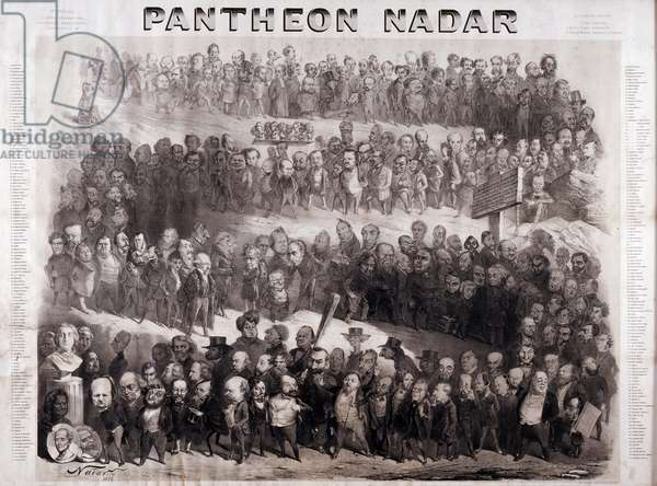 The Pantheon Nadar representing the great historical figures of the 19th century (intellectual and political personalities). Cartoon by Gaspard Felix Tournachon dit Felix Nadar (1820-1910), 1854. Engraving. Dim: 117x88cm.