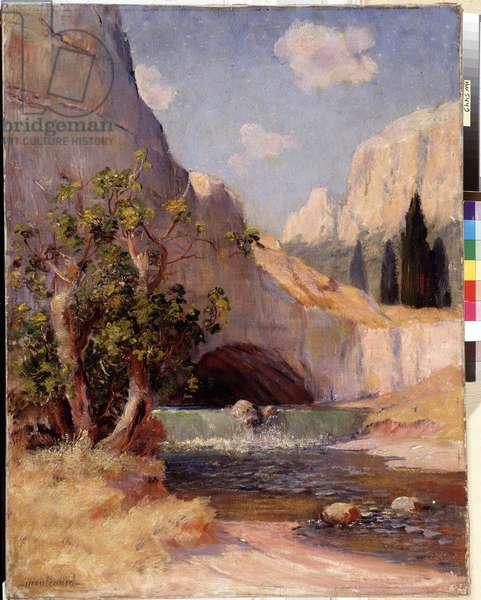 View of Fontaine du Vaucluse Landscape of Provence. Painting by Frederic Montenard (1849-1926) Dim. 65x50,5 cm Mandatory mention: Collection fondation regards de Provence, Marseille