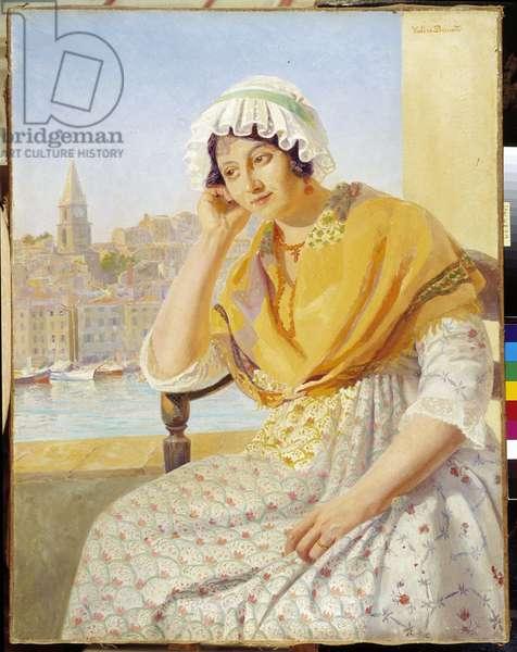Madame Contencin on the terrace quai de Rive-Neuve in Marseille. Painting by Francois Marius Valere Bernard (1860-1936), Mention obligatory: Collection foundation regards of Provence, Marseille.