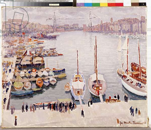 The Old Port of Marseille, Quai de la Fraternite In the background, one can see the ferry bridge, 1934 (oil on canvas)