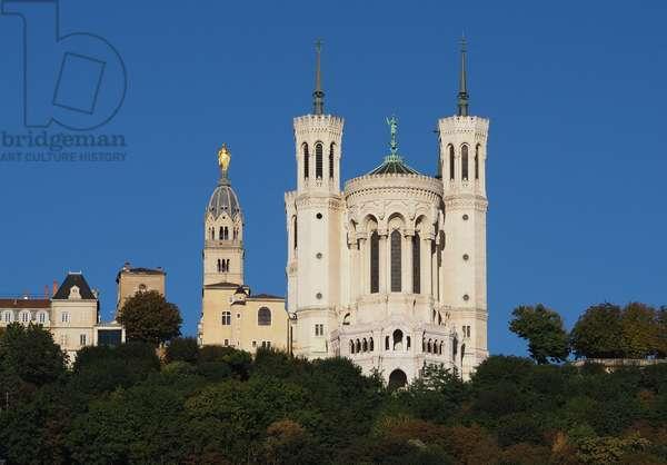 Lyon, region Auvergne, Rhone Alpes, departement du Rhone. 69000 Basilique Notre Dame de Fourviere, fin XIX. Architecte Pierre Bossan (1814-1888), constructeur Louis Sainte Marie Perrin (1835-1917) (photo)