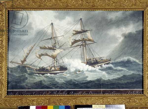 """The brick """""""" The Stone"""""""" command by Captain Rebuffa assaulted by a hurricane on 2/07/1822. Ex voto. Painting by Antoine Roux (1765-1835). 1822. Cathedrale Notre Dame de la Garde Marseille"""