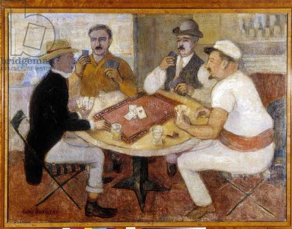 Marcel Pagnol's card game. Painting by Louis Audibert (1881-1984), Mention obligatory: Collection fondation regards de Provence, Marseille (dim in cm 115,5x152,5)