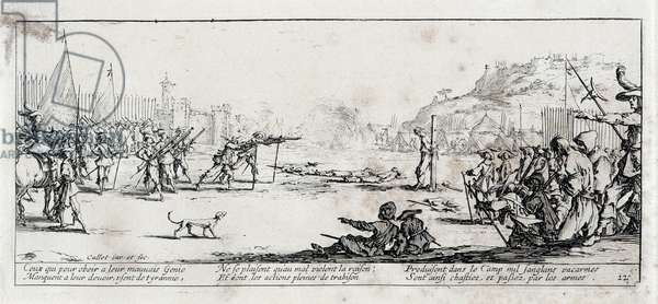 """Series """"The Miseries and the Miseries of War"""" (also called """"The Great Miseries of War"""") evoking the Thirty Year War: The Arquebusade. Engraving on paper by Jacques Callot (1592-1635), 1633. Dim: 8,1x18,6cm. Private Collection"""