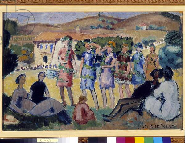 Women's party in the country. Painting by Louis Audibert (1881-1984). Mandatory mention: Collection fondation regards de Provence, Marseille (Dim in cm 32x46)
