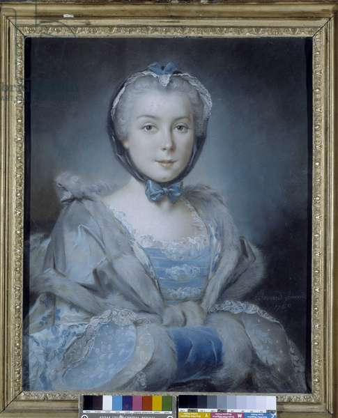 Portrait of a woman in blue. Painting by Pierre Bernard (1704-1777). French school of the 18th century. Musee des Beaux Arts - Palais Longchamp, Marseille.