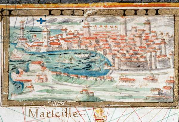 View of the city Marseille. Portulan realized by Augustin Roussin (17th century). 1630 Municipal Library of Marseille