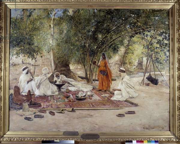 The Hospitalite meal. Scene of Arab life in the oasis of Chelma near Biskra, Algeria. Painting by Maurice Bompard (1857-1936) 1891 (oil on canvas)