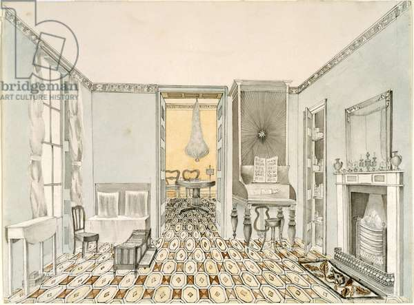 View of a drawing room, c.1835-40 (pencil, ink & w/c on paper)