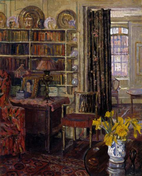 View of a domestic interior, probably the home of Charles Aitken at 28 Church Row, Hampstead, c.1913-28 (oil on canvas)