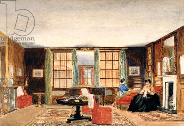 A drawing room with two seated women, c.1850 (w/c on paper)