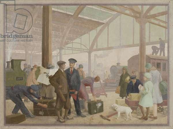 Cheltenham Station, 1930 (oil on canvas)