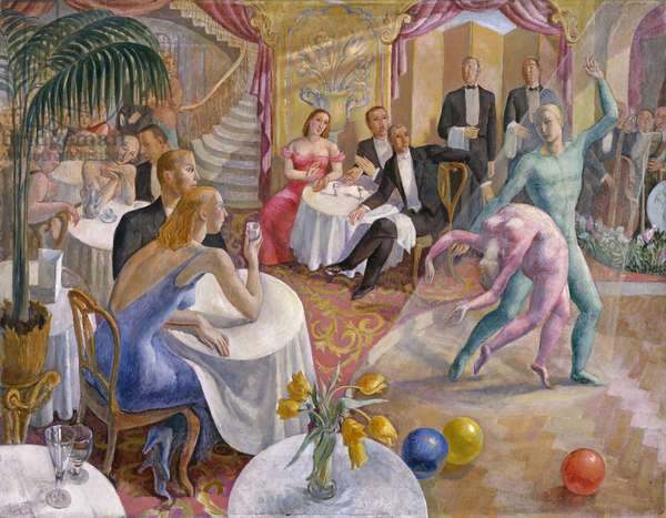 View of an interior, probably in a cafe or nightclub, with a dance performance, c.1935 (oil on canvas)