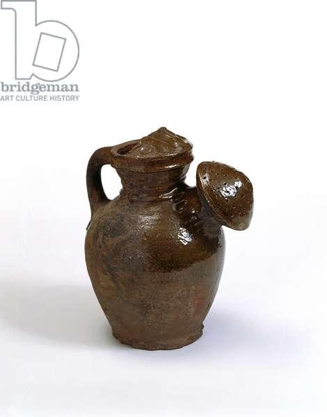 Watering pot, c.1600 (glazed earthenware)