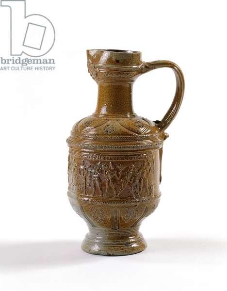 Beer jug, made in Raeren, Belgium, c.1580-1600 (salt-glazed stoneware)