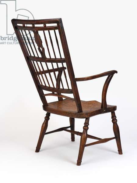 Fruitwood armchair with high back described as a 'Mendlesham' chair, c.1830 (fruitwood)
