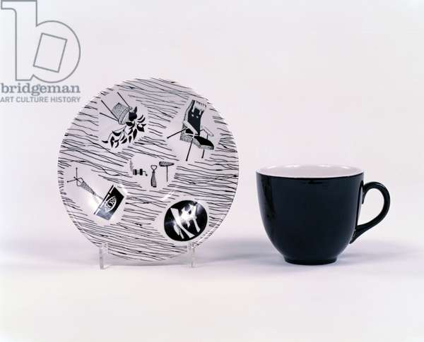 'Homemaker' cup and saucer, 1956-57 (machine printed glazed earthenware)