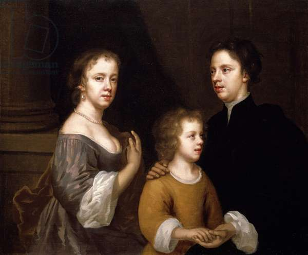 Self Portrait with husband, Charles and son, Bartholomew, c.1659-60 (oil on canvas)
