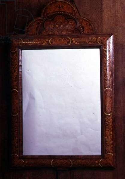 Mirror with a marquetry cushion frame, English, c.1690 (walnut)