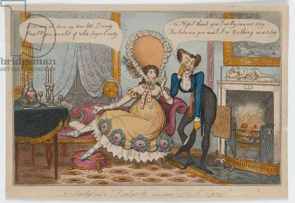 A Dandy and a Dandyzette or a retour De L'Opera, c.1820 (hand-coloured engraving)