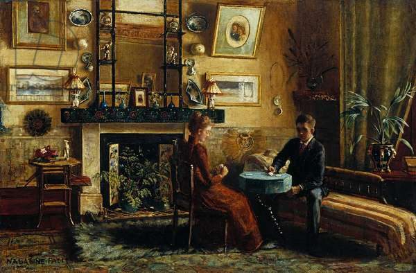 Interior with a couple playing cards, 1887-91 (oil on canvas)