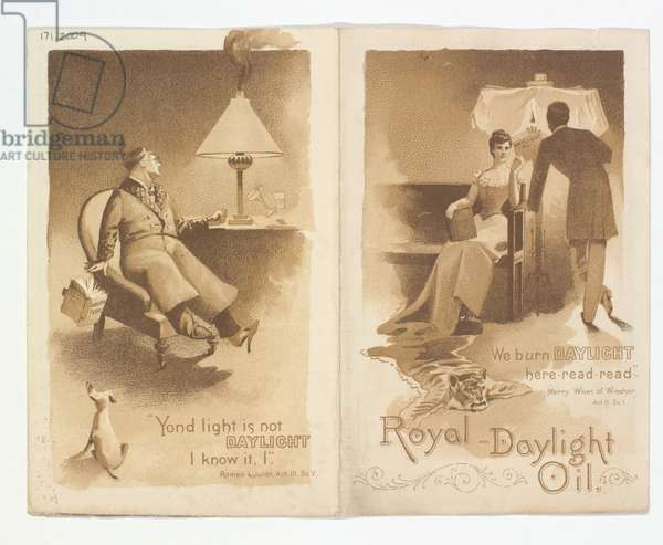 'Royal Daylight Oil' advertising leaflet, back and front covers, 1890-1900 (litho)
