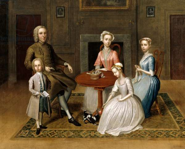 Group portrait, possibly of the Brewster family, in a domestic interior, 1736 (oil on canvas)