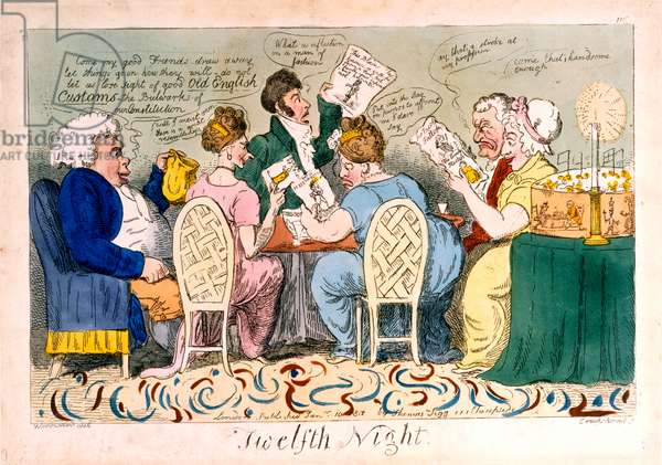 Twelfth Night, etching by Isaac Cruikshank (1764–1811), printed by Thomas Tegg (1776–1845), 1819 (hand-coloured etching)