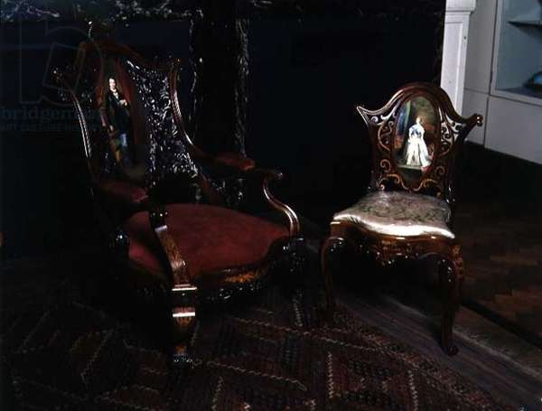 Mid-Victorian Parlour chairs bearing portraits of Queen Victoria and Prince Albert