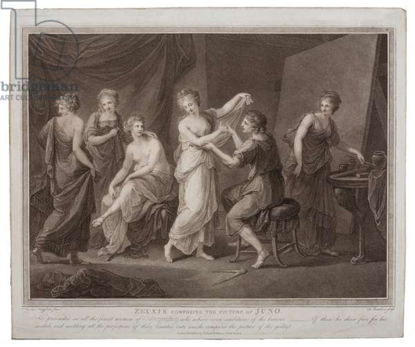 Zeuxis composing the picture of Juno by Francesco Bartolozzi (1727-1815), published in London by W. Palmer, 1785 (engraving)