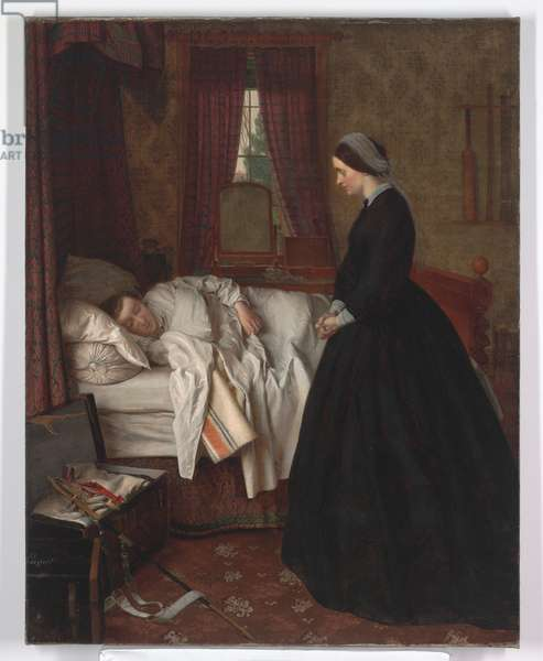 Domestic interior with a sleeping soldier, 1860s (oil on canvas)