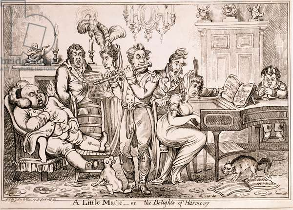 A Little Music or The Delights of Harmony, engraved by William Brocas, printed in London by J. Sidebotham, 1810 (etching)