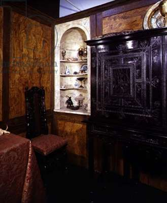 John Evelyn's 'Cabinet of Curiosities', showing (R) his ebony cabinet made in Paris (1652)